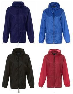 Kids Boys Girls Cagoule Light Rain Jacket Coat Hooded Pac A