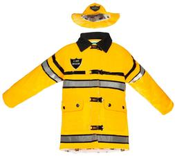 Splashy Kids Fireman Rain Jackets & Hats - Size 4, Yellow, G