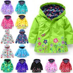 Baby Girls Kids Hooded Raincoat Coat Jacket Rain Wear Windpr