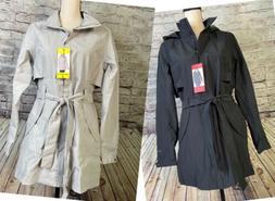 Eddie Bauer Kona Trench Coat Rain Jacket Hood Belt Gray or B