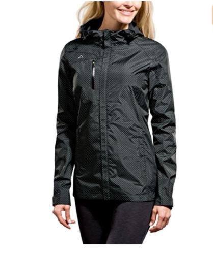 NWOT Paradox Women/'s Rain Jacket Black w//Lime Dots Print Variety