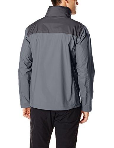 Columbia Men's Waterproof Rain Jacket, Graphite/Black, Large