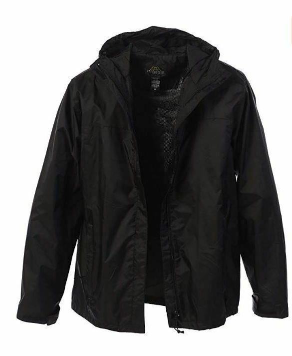 Gioberti Men's Waterproof Rain Jacket, Black, L