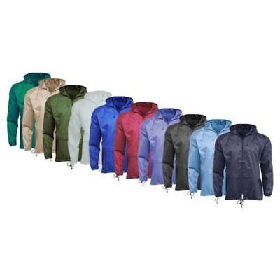 Men/Women Plain Rain Coat Mac Kagoul Jacket Water Proof Hood