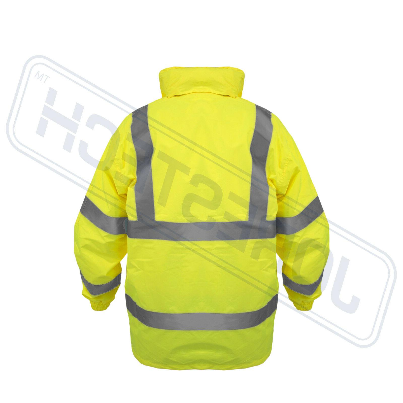Safety Reflective Green Hi-Vis Raincoat Rainjacket w Hood