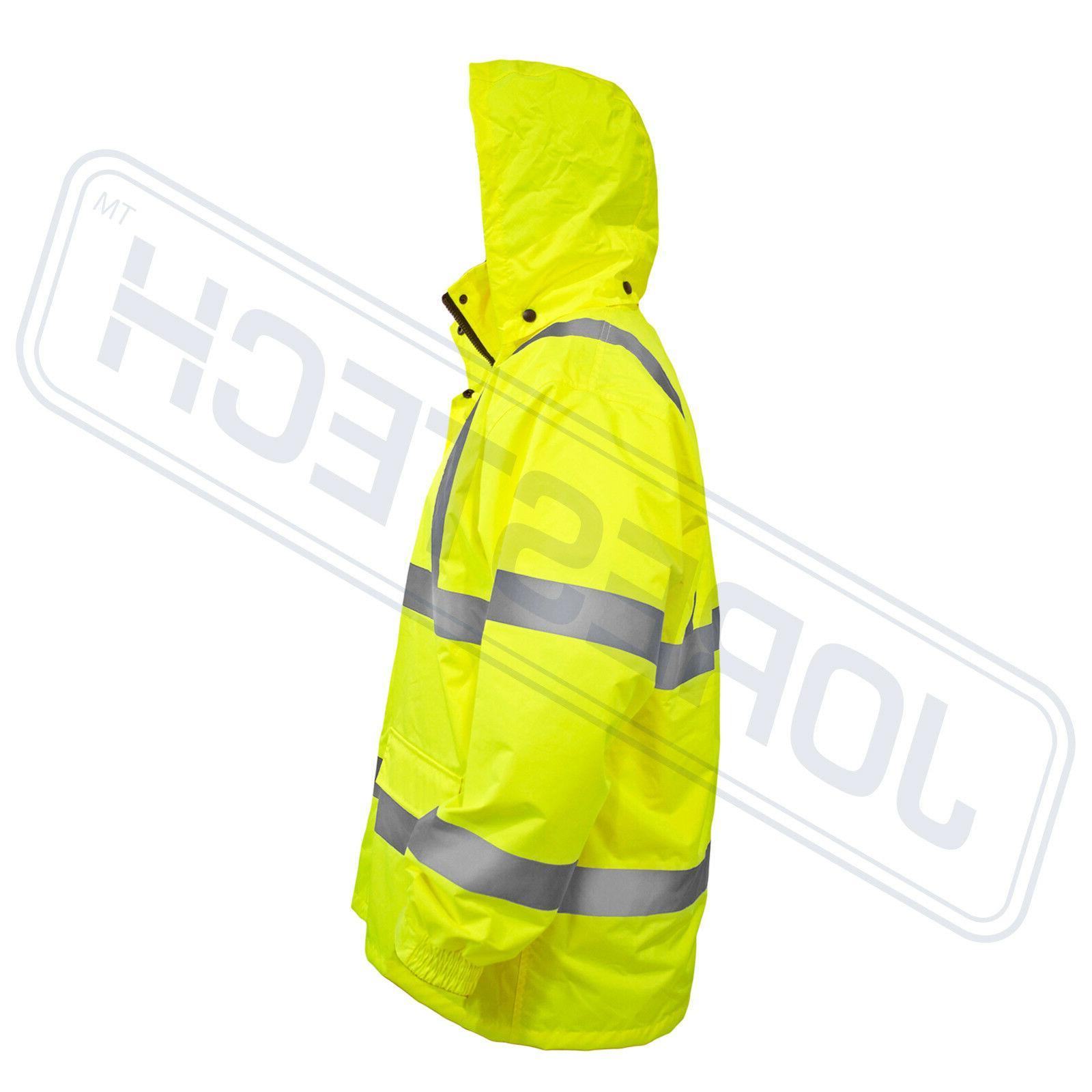 Safety Rain Reflective Green Hi-Vis Raincoat Rainjacket w Hood
