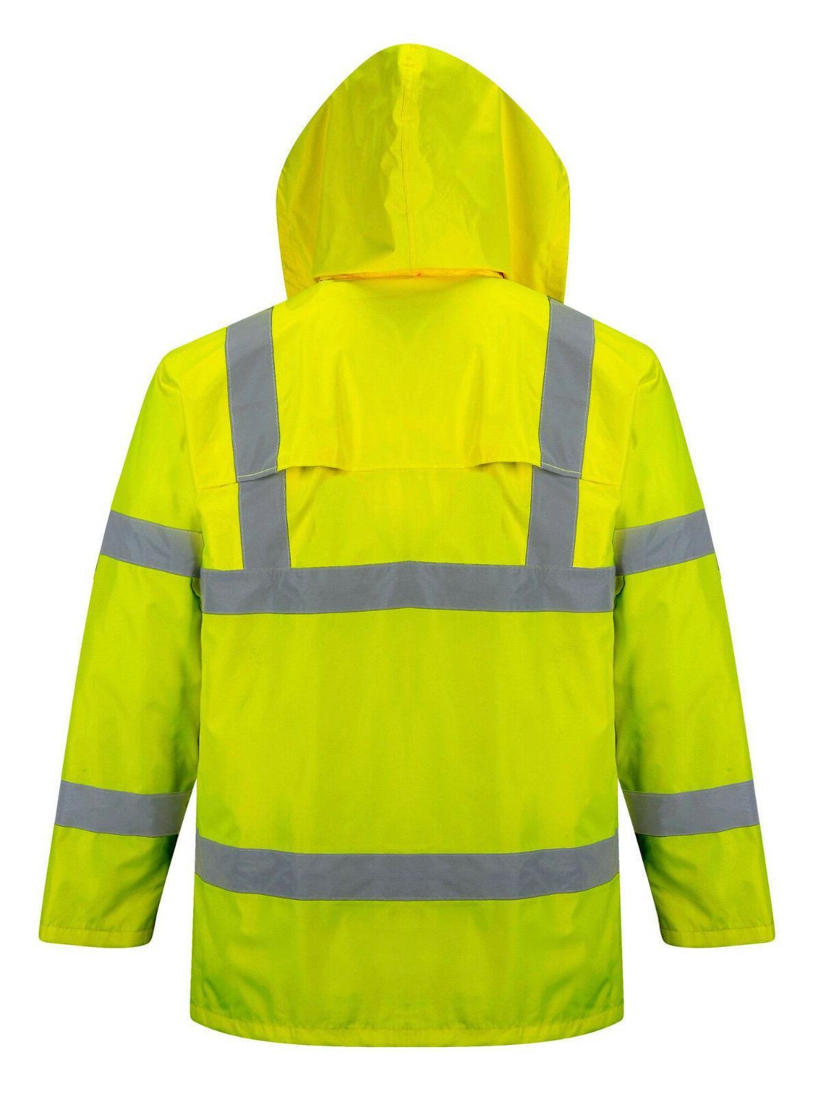 Safety Rain Green Hi-Vis Raincoat Rainjacket w Hood