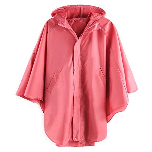 Women's Waterproof Packable Rain Jacket Batwing-sleeved Ponc