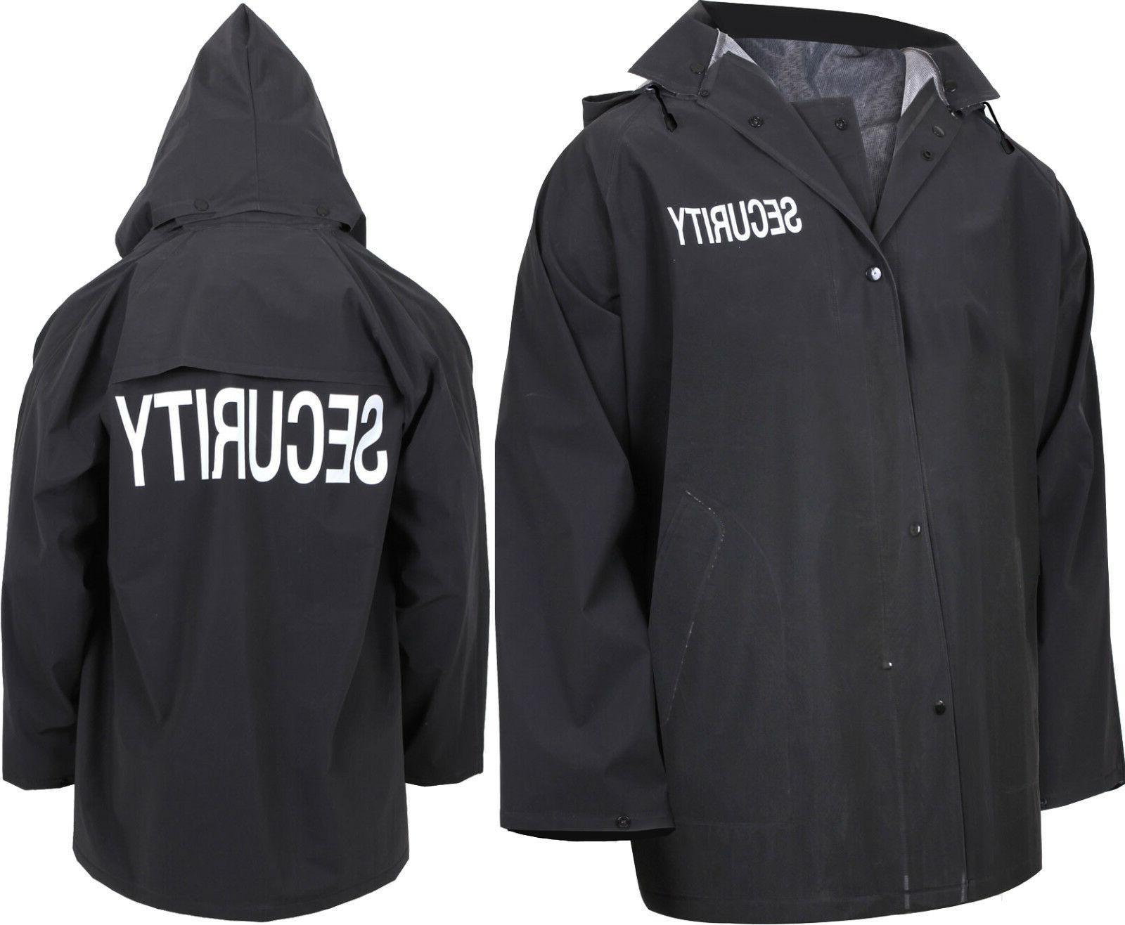 black double sided waterproof security hooded rain