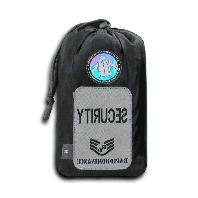Black Security Officer Windbreaker Zipper Jacket Coat