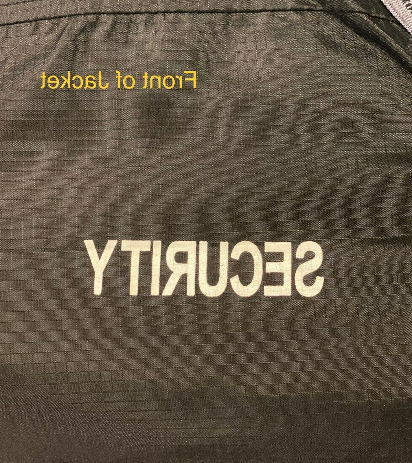 Black Security Windbreaker Jacket Coat USA