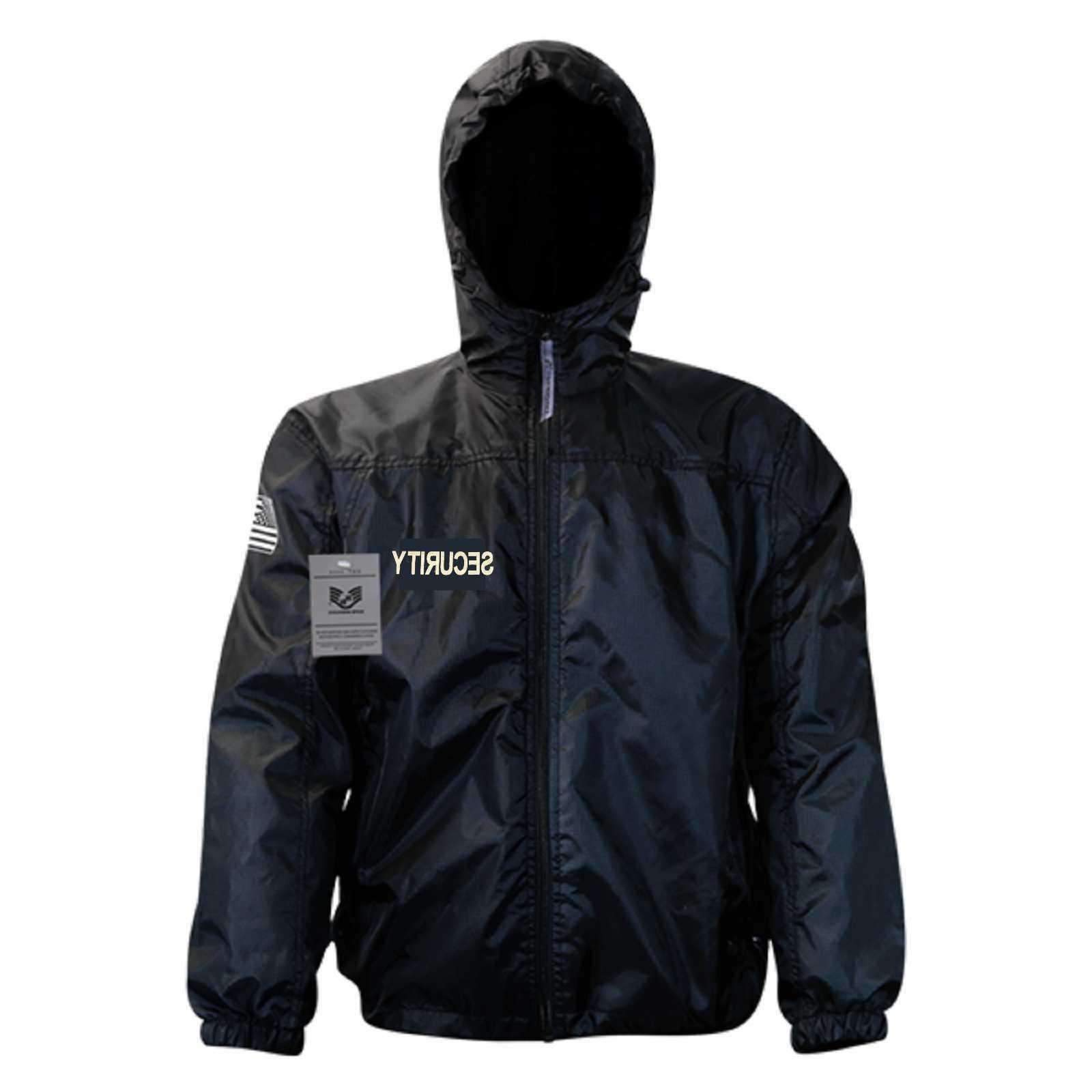 black security guard officer windbreaker zipper light