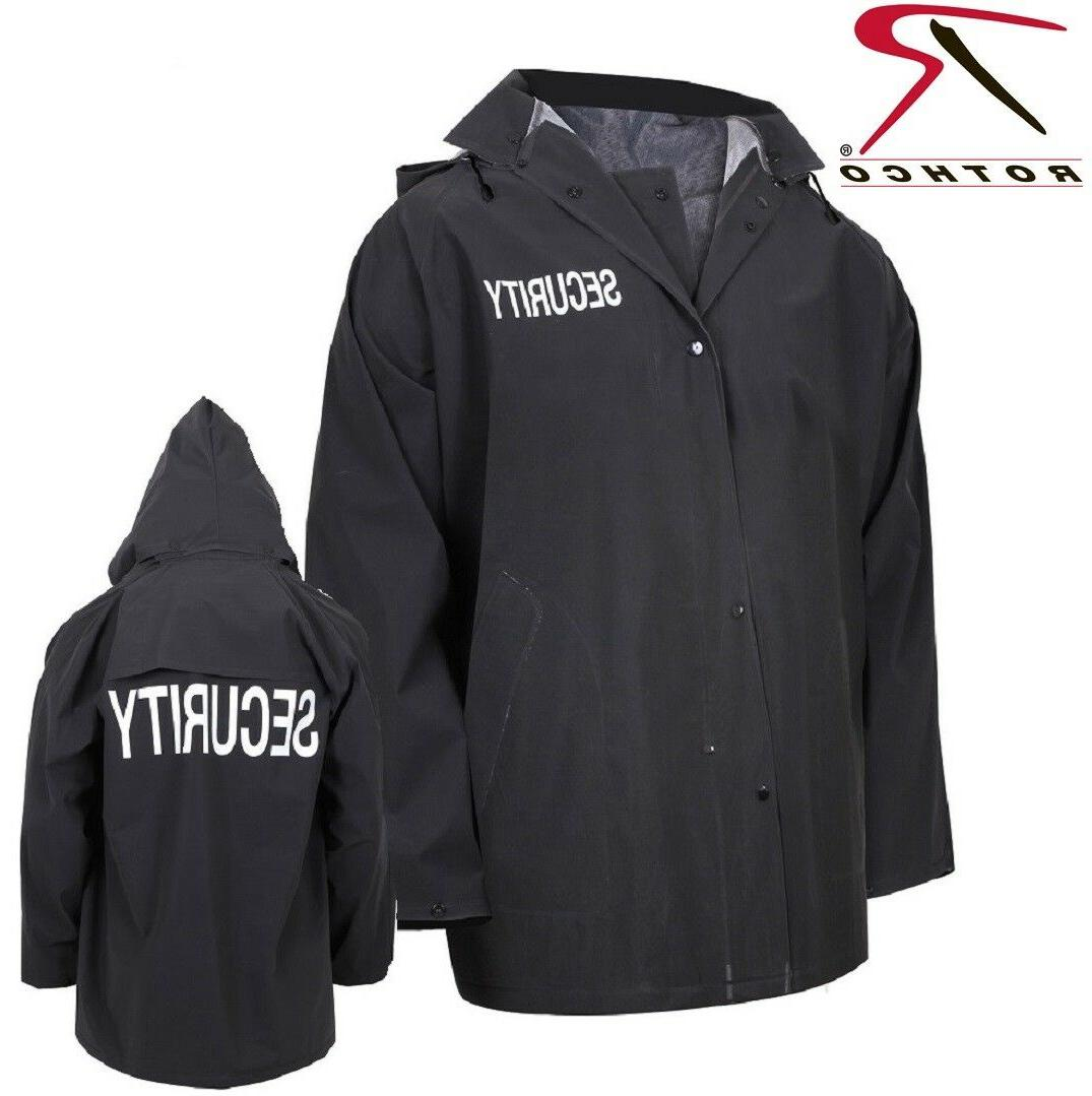 black security guard security officer rain coat