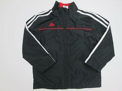 ADIDAS BOYS BLACK RED WHITE ZIP UP EMBROIDERED STRIPE WINTER
