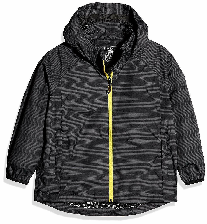 boys rain jacket waterproof packable black yellow