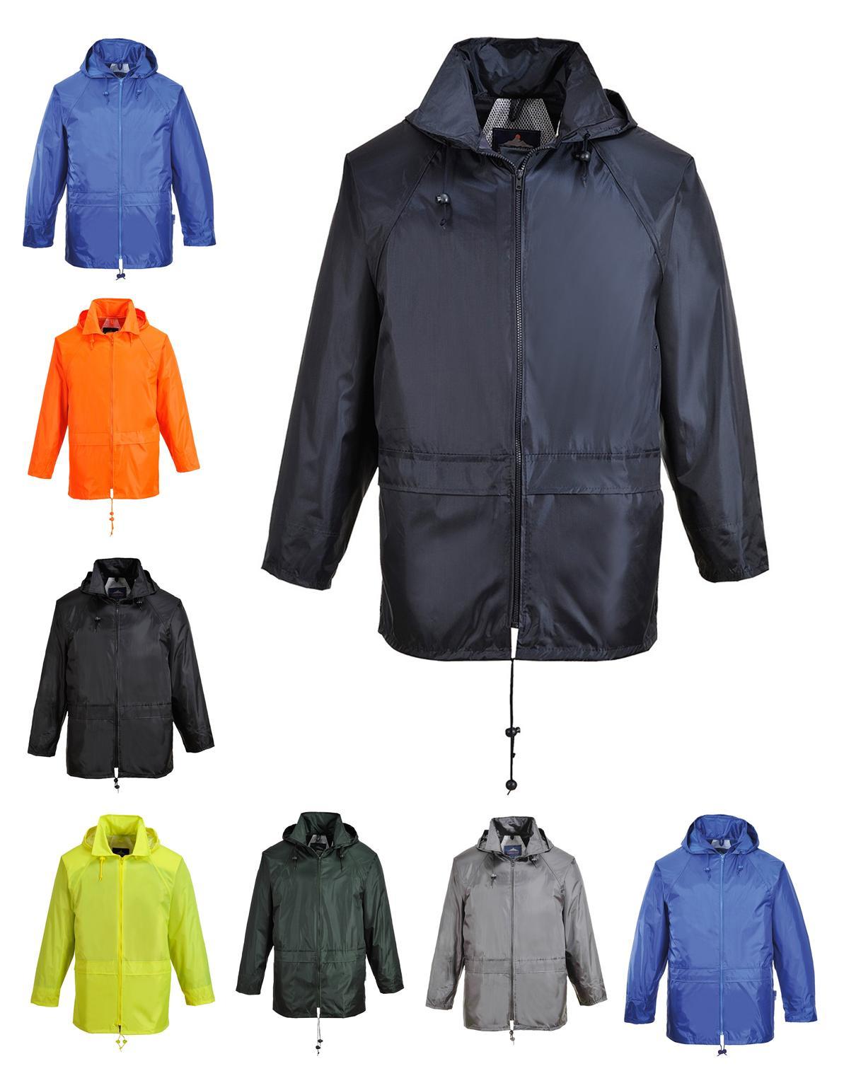 Portwest Classic Rain Jacket Waterproof Hooded Zipped Winter