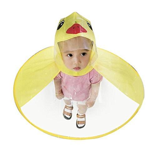 Sameno UFO Cartoon Yellow Children Umbrella Hat Raincoat