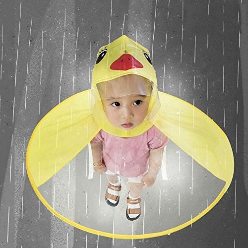 Sameno Cute Rain UFO Cartoon Yellow Baby Hat Magical Free Raincoat