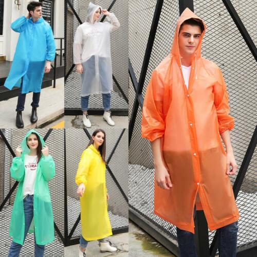 Women Men Clear PVC Coat Poncho Rainwear