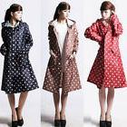 Fashion Women Ladies Polka Dot Hooded Fishtail Raincoat Outd