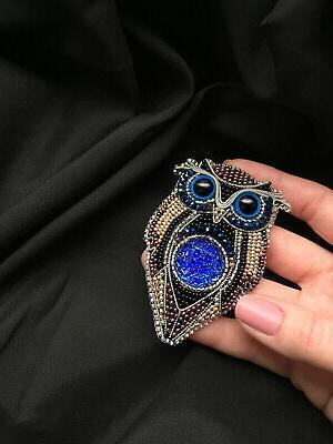 Handmade Jacket Owl Brooch with