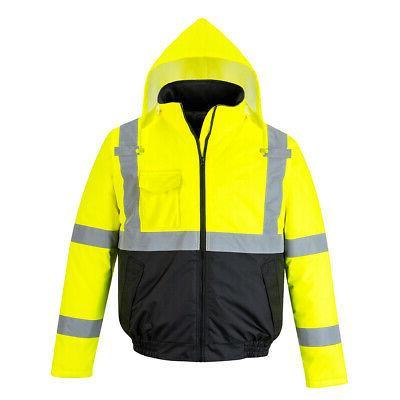 Hi Vis Bomber Rain Jacket 3 Jackets in 1 Reflective Work Saf