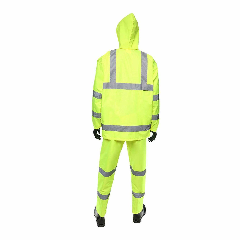 Hi-Vis Class Safety Rain Rain Jacket Hood and Overalls