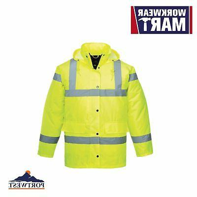 Hi Vis Mens Rain Jacket, Padded, High Visibility Reflective