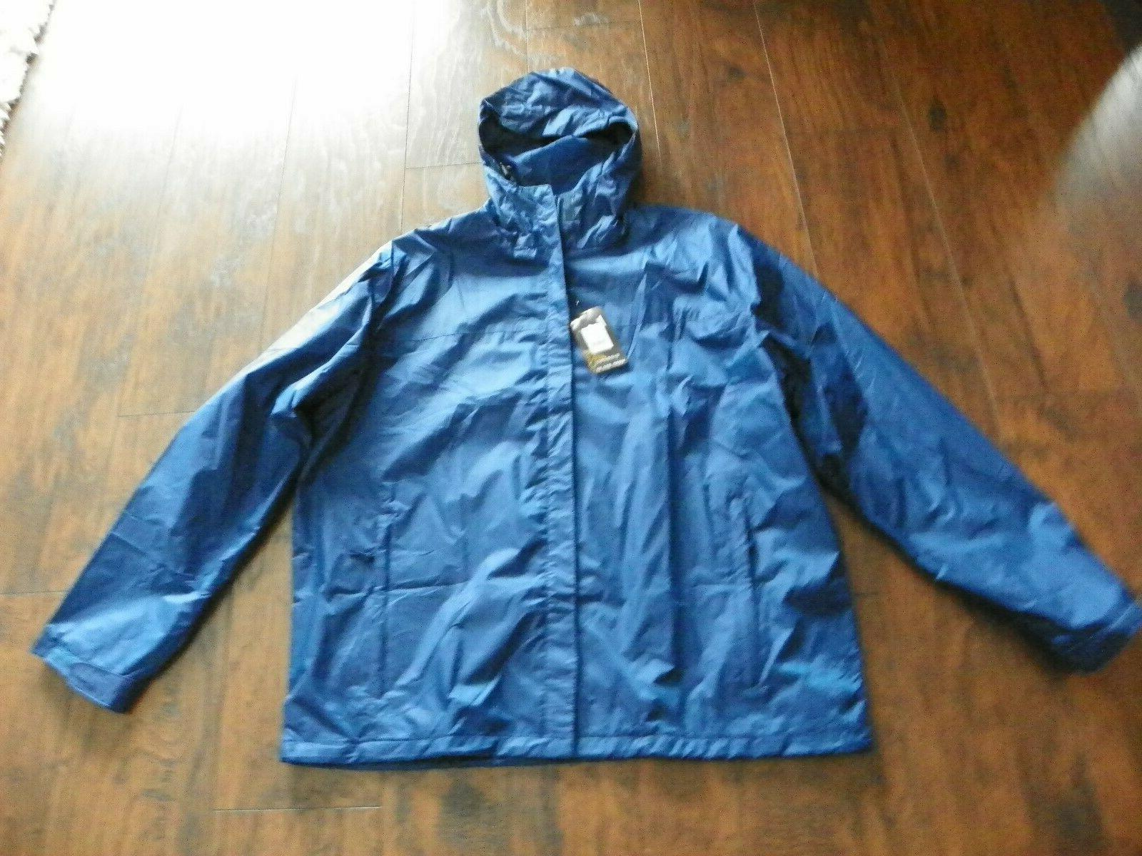 hooded waterproof rain jacket mens blue sz