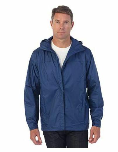 hooded waterproof rain jacket mens navy blue