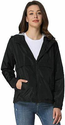iloveSIA Women's Rain Jacket Water Resistant Windbreaker Hoo