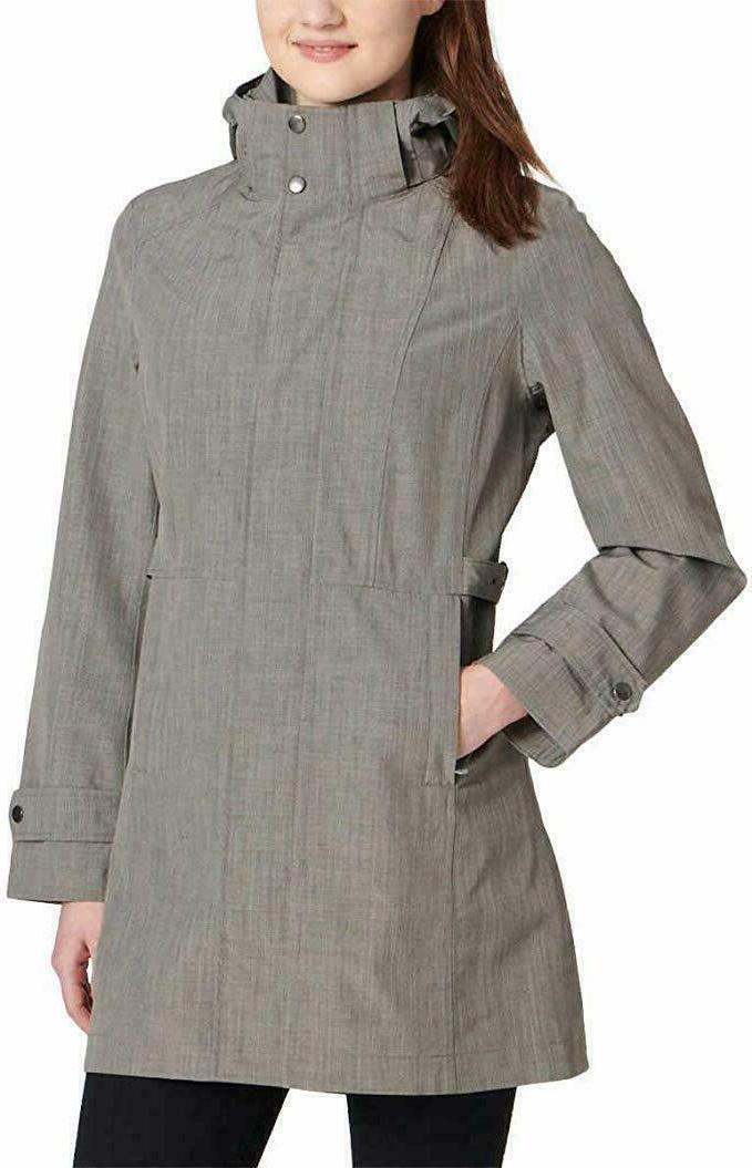 ladies trench rain jacket coat light gray