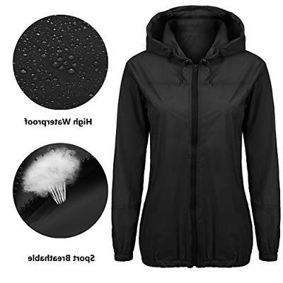 Beyove Lightweight Rain Jacket Women Waterproof Hood Outdoor