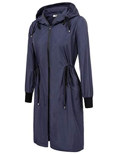 Zeagoo Long Raincoat Women Waterproof Rain Jacket,Navy