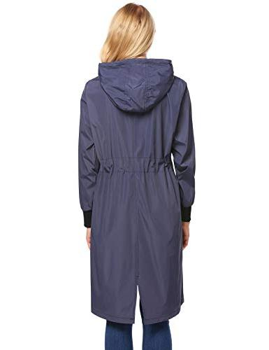 Zeagoo Raincoat Women Rain Jacket,Navy Blue,Small