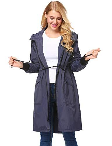 Zeagoo Raincoat Women Waterproof Hooded Rain Blue,Small