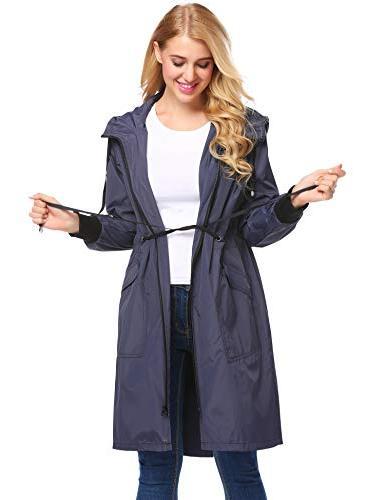 Zeagoo Raincoat Women Waterproof Hooded Rain Blue,Small