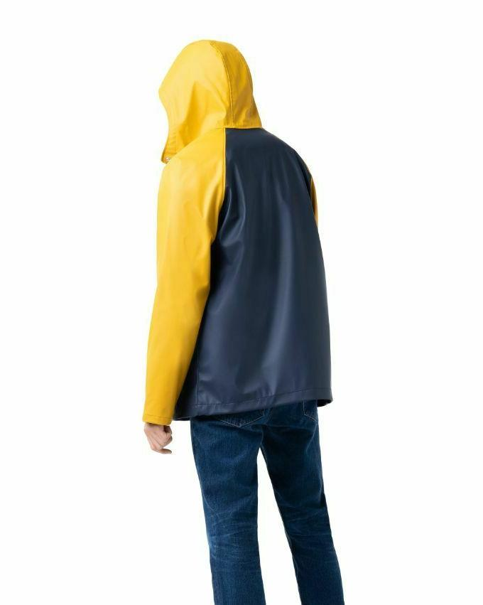 men s classic rain jacket blue yellow