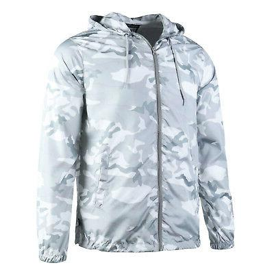 Beautiful Men's Lightweight Windbreaker Jacket White Camo