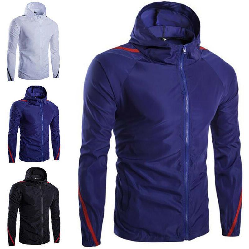 men zip hoodie rain coat jacket long