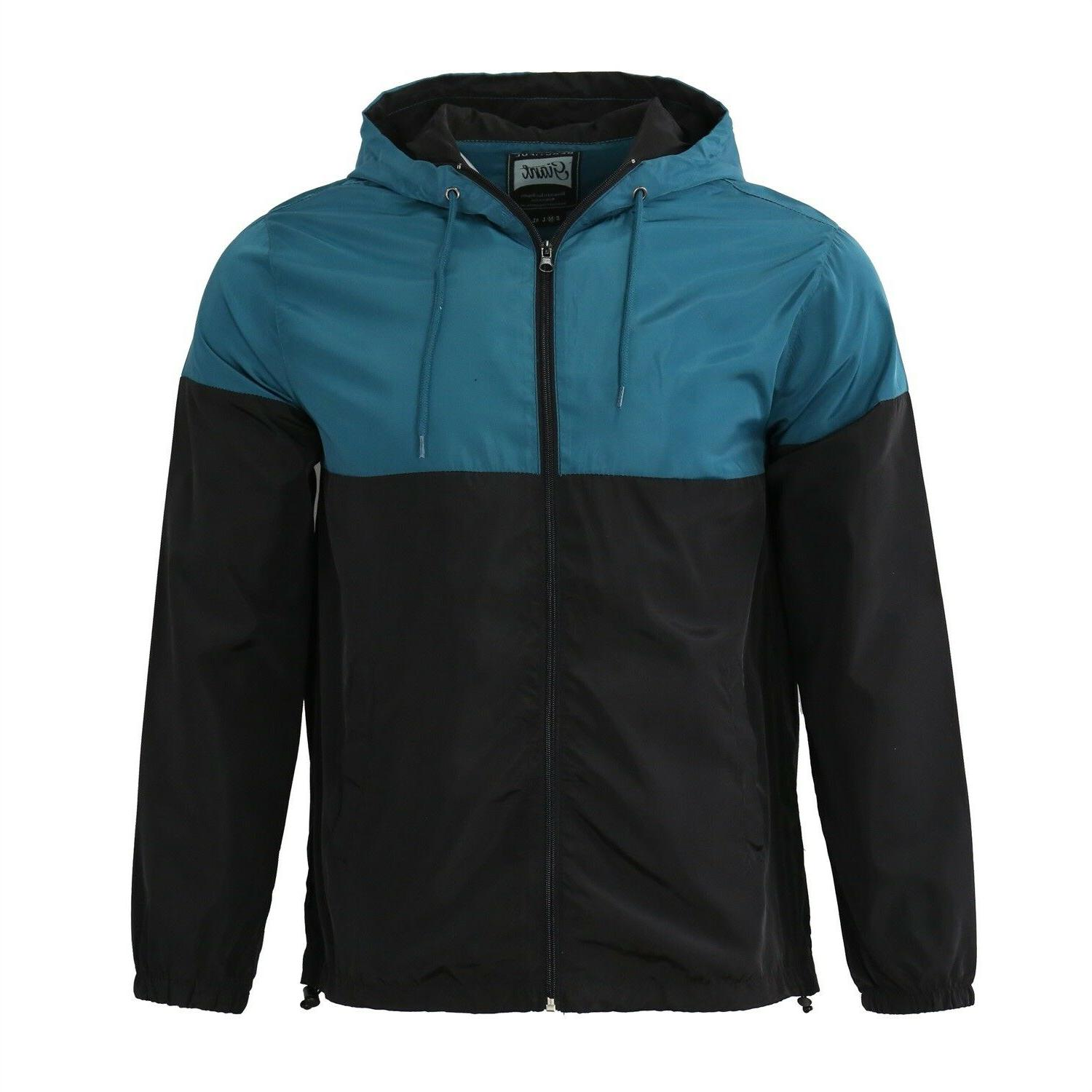 Men's Hooded Lightweight Windbreaker Windproof Outdoor Rain