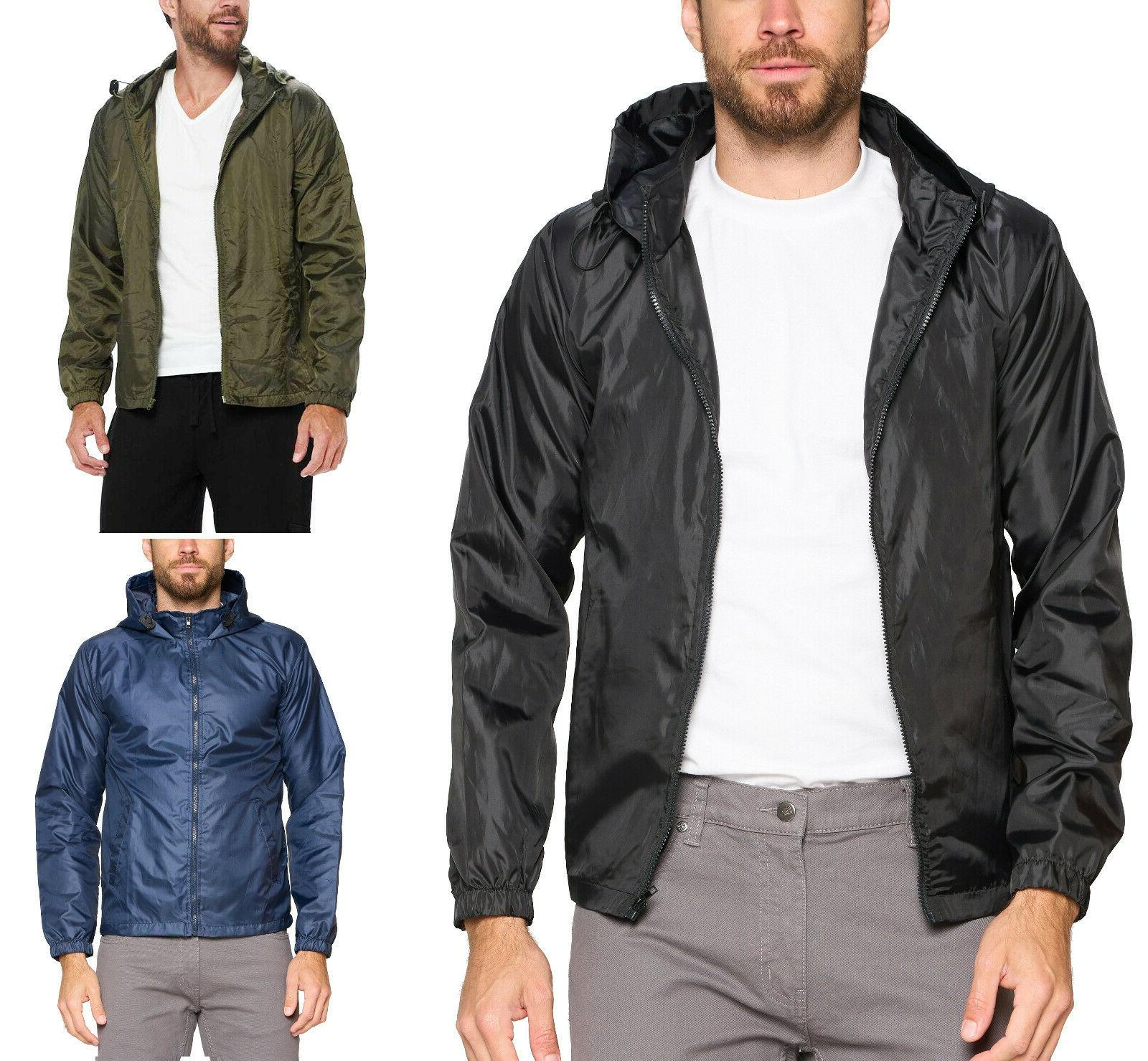 men s lightweight rain water resistant hooded