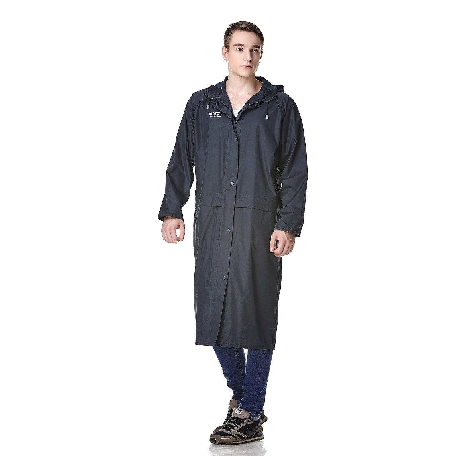 Men's Long Waterproof Rain Jacket Coat Hooded Poncho Windbre