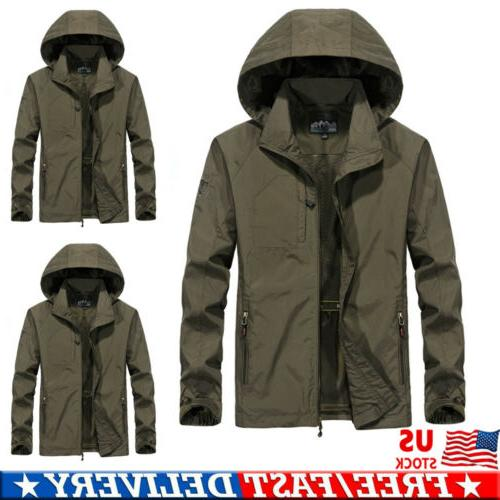 Men's Waterproof Windbreaker Hooded Jacket Breathable Outwea