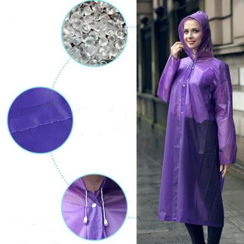 Men Waterproof Jacket PE Hooded Coat Poncho Rainwear