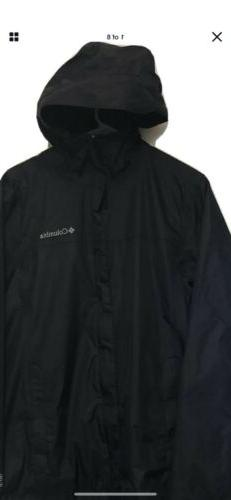 Mens Columbia Omni-Tech Waterproof Hooded Rain Jacket Black