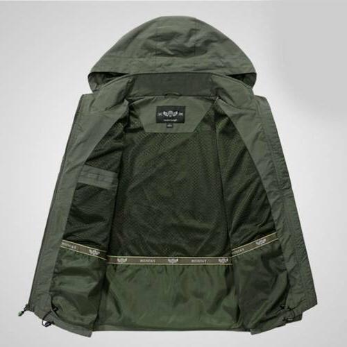 Mens Coat Casual Outerwear Hooded Windbreaker