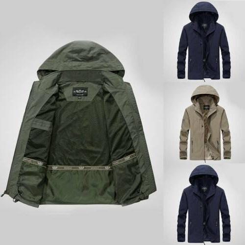 Men's Jacket Waterproof Hooded Outdoor Camping Rain Coat USA