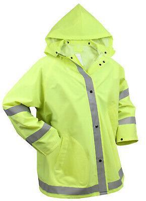 Mens Reflective Safety Rain Hooded Green