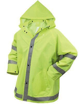 mens reflective safety jacket rain coat hooded